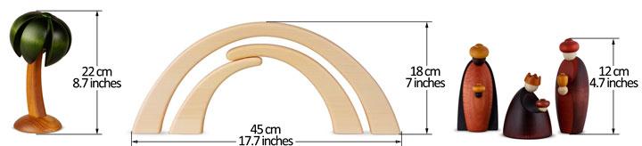 Krippenfiguren Lindenholz lasiert 12 cm