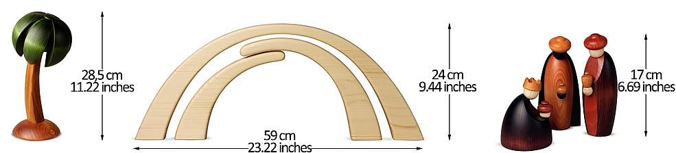 Krippenfiguren Fichtenholz lasiert 17 cm