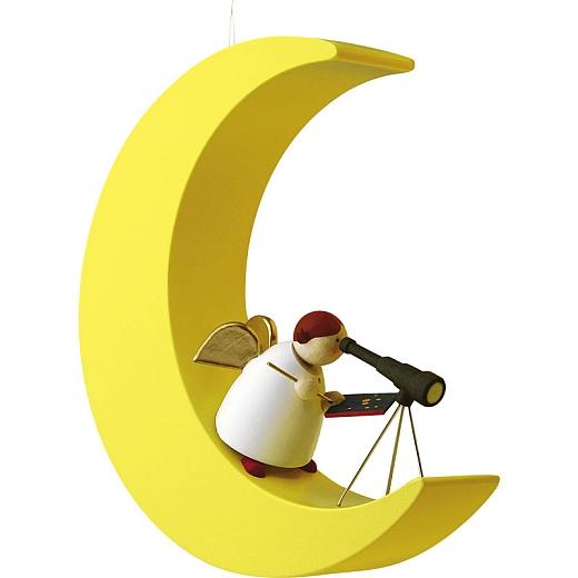 Schutzengel mit Fernrohr im Mond