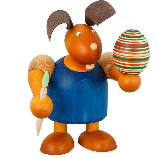 Maxi Hase blau mit Pinsel und Ei 24 cm