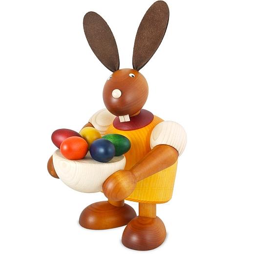Maxi Hase gelb mit Osternest 24 cm