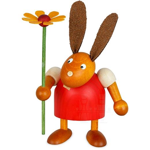 Hase rot mit Blume 7 cm