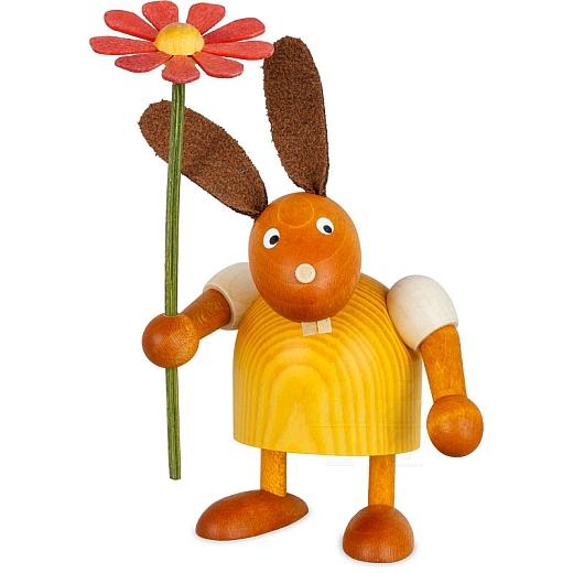 Hase gelb mit Blume 7 cm