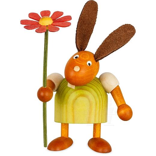 Hase grün mit Blume 7 cm