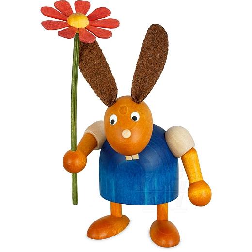 Hase blau mit Blume 7 cm