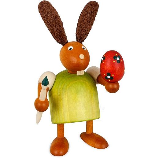 Hase grün mit Pinsel und Ei 7 cm