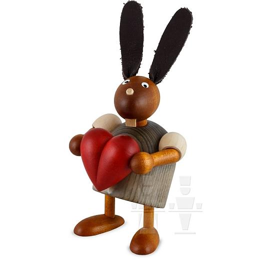 Hase grau mit Herz 7 cm
