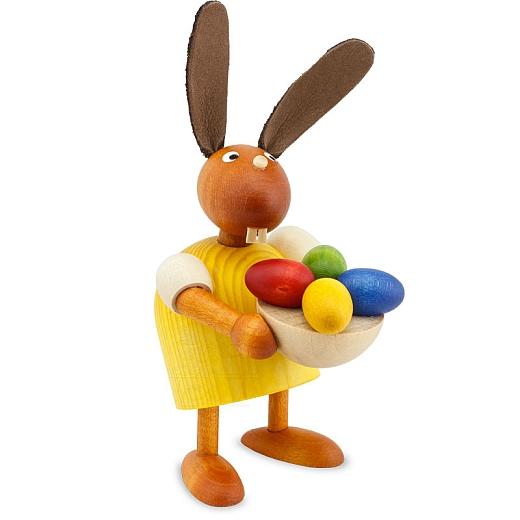 Hase gelb mit Eiernest 7 cm
