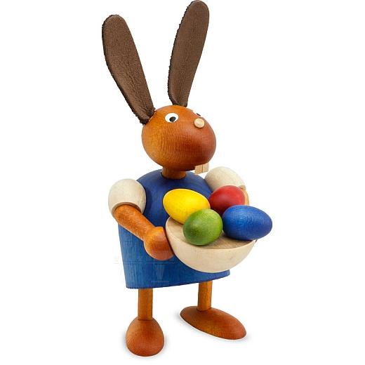 Hase blau mit Eiernest 7 cm