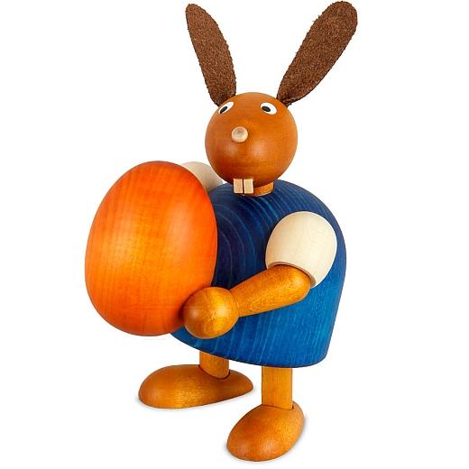 Hase blau mit Ei 11 cm