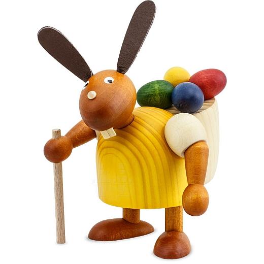 Hase gelb mit Eierkiepe 11 cm