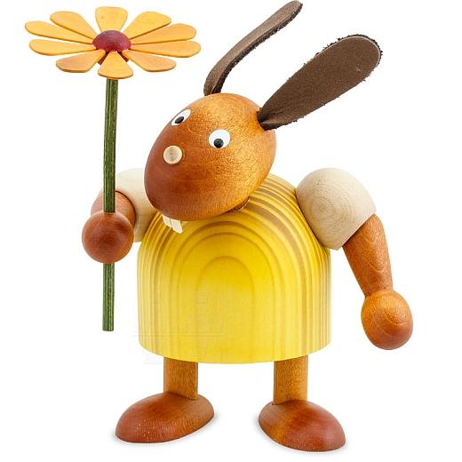 Hase gelb mit Blume 11 cm