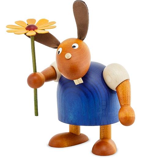 Hase blau mit Blume 11 cm