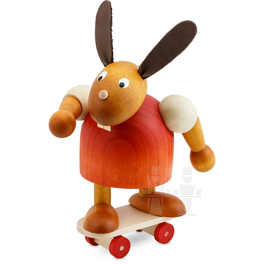 Hase rot mit Skateboard 11 cm