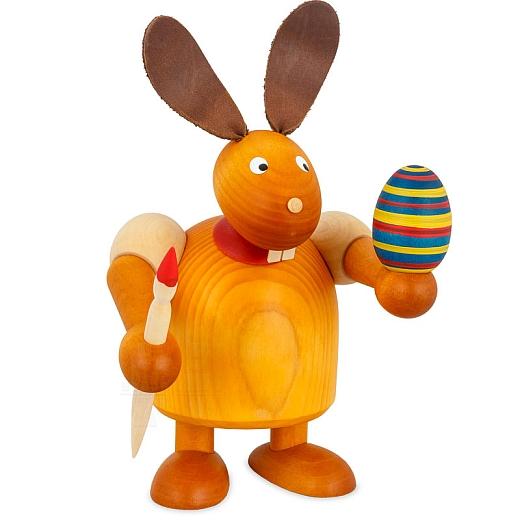 Hase gelb mit Pinsel und Ei 17 cm