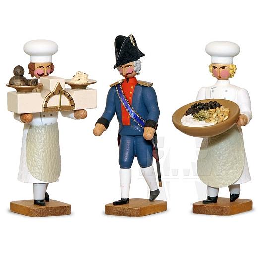 Bäckermeister und zwei Gesellen mit Schüssel und Waage
