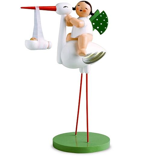 Storch mit Wickelkind Mädchen von Wendt & Kühn