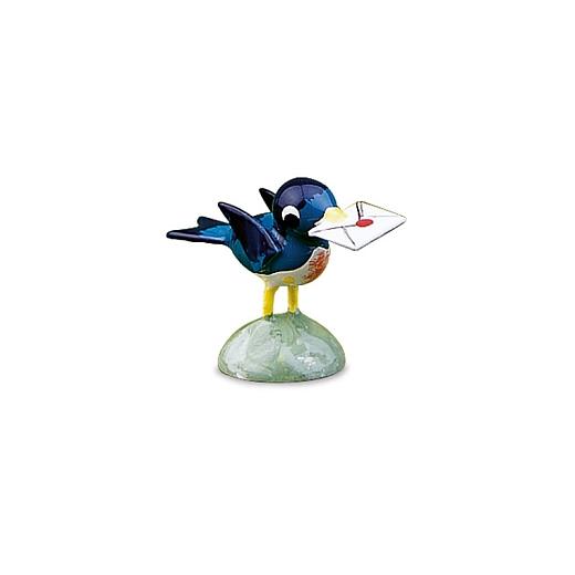 Vogel blau mit Brief