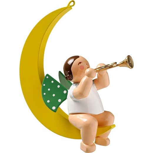 Engel mit Trompete im Mond