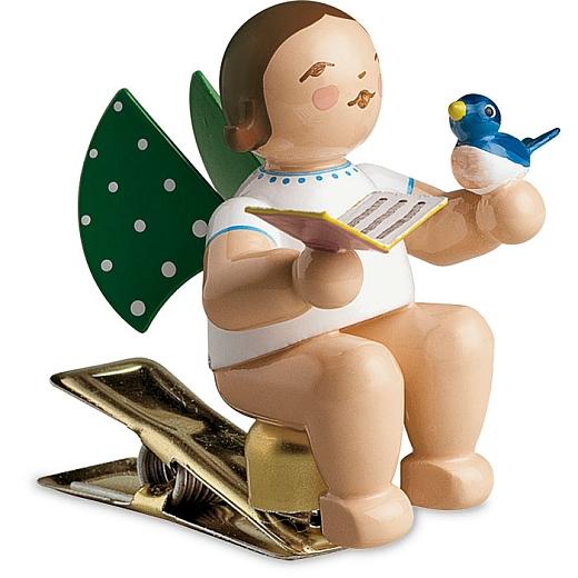 Engel mit Liederbuch & Vogel auf Klemme