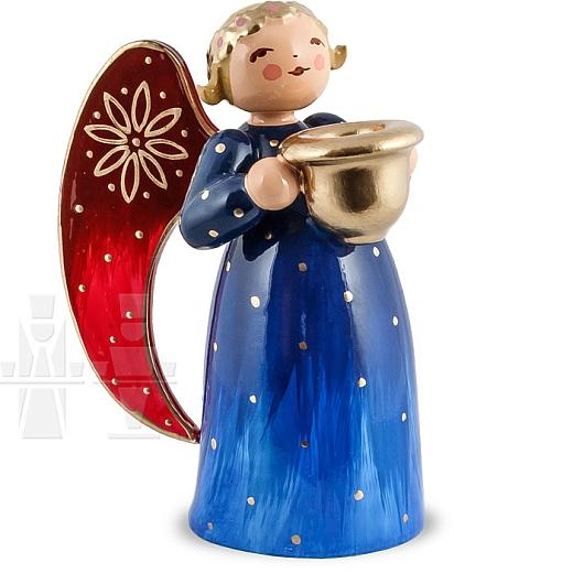 Engel klein mit Lichtnapf blau