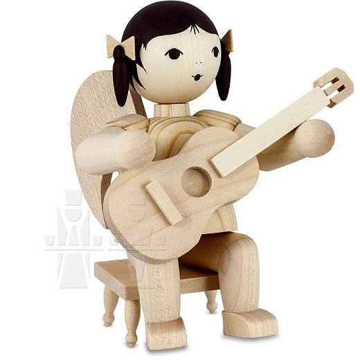 Schleifenengel mit Gitarre auf Hocker natur