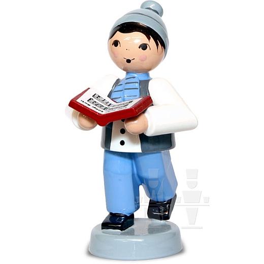 Kleiner Junge mit Buch blau