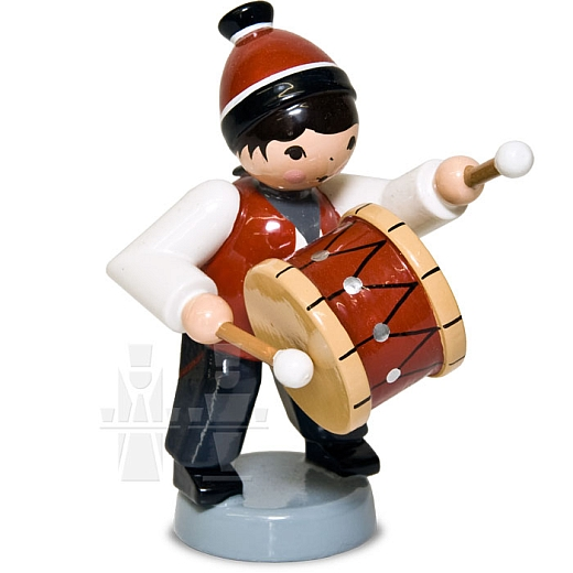 Wintermusiker mit Trommel rot