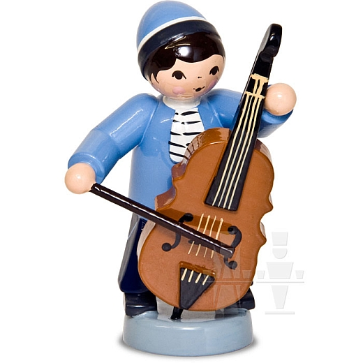Wintermusiker mit Bass blau