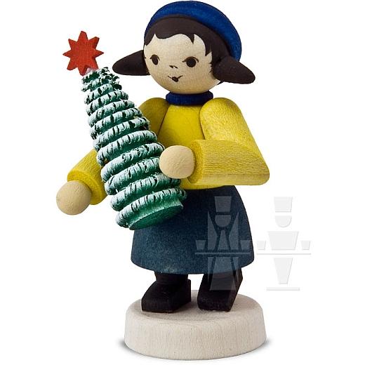 Geschenkemädchen mit Baum • gebeizt
