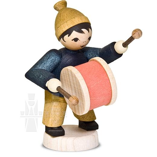 Wintermusiker mit Trommel • gebeizt