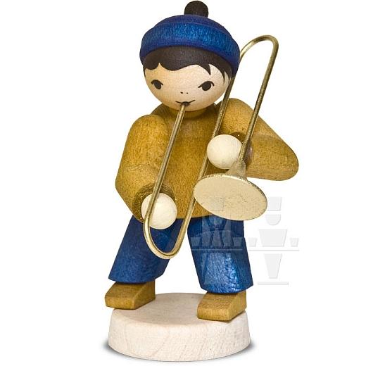 Wintermusiker mit Posaune • gebeizt
