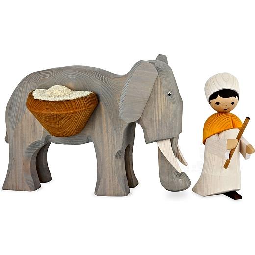 Treiber mit großem Elefant 13 cm gebeizt