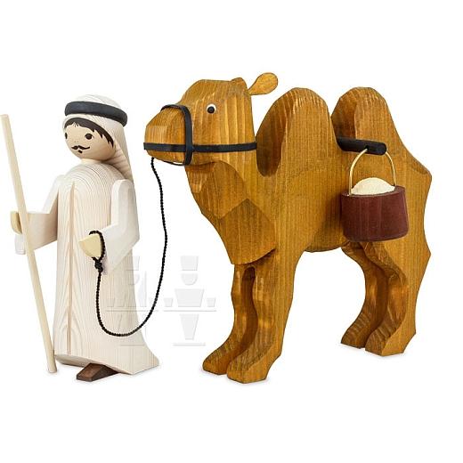 Treiber und Kamel mit Eimern 22 cm gebeizt