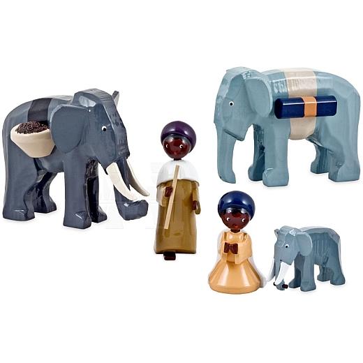 Treiber mit Elefanten 7 cm lackiert