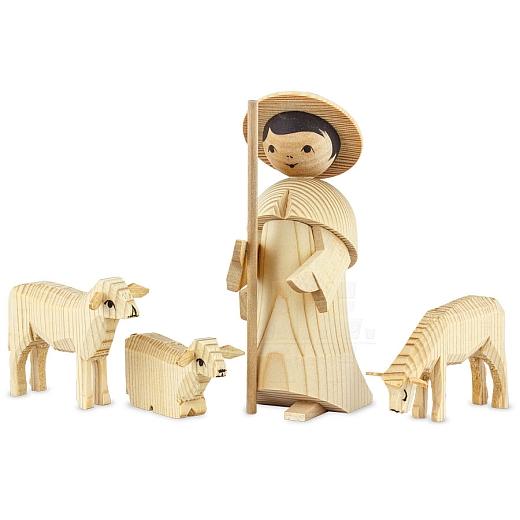 Hirte mit 3 Schafen 13 cm natur