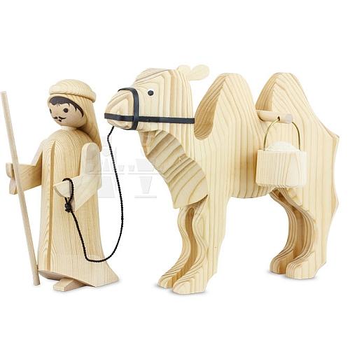 Treiber und Kamel mit Eimern 22 cm natur