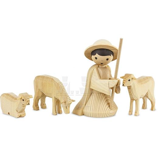 Hirte kniend mit 3 Schafen 22 cm natur
