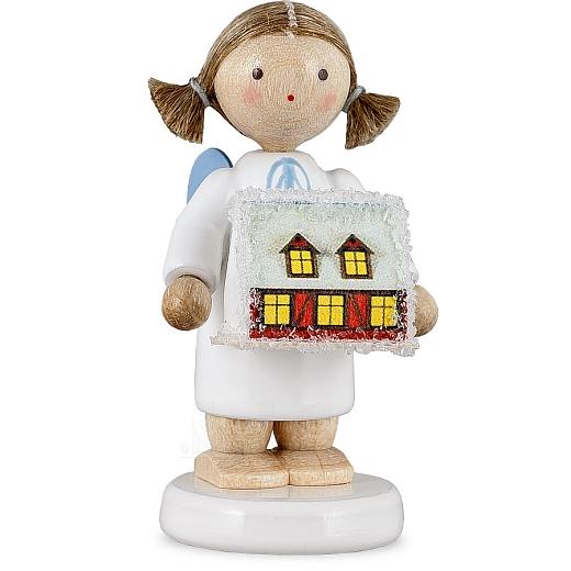 Engel mit erzgebirgischem Lichterhaus