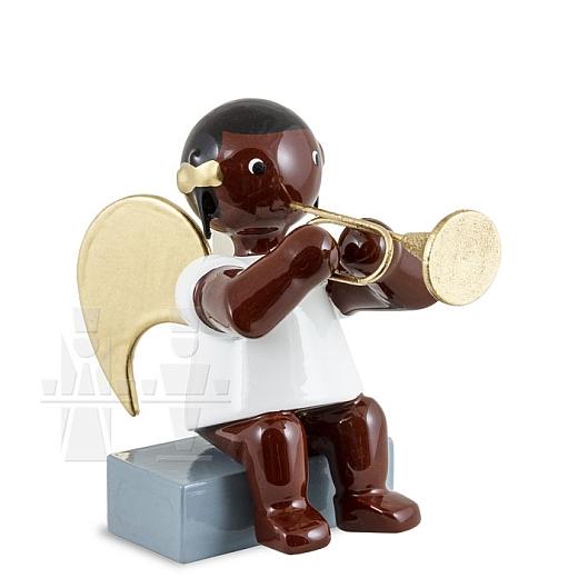 Afrikaner Engel sitzend mit Trompete 6 cm
