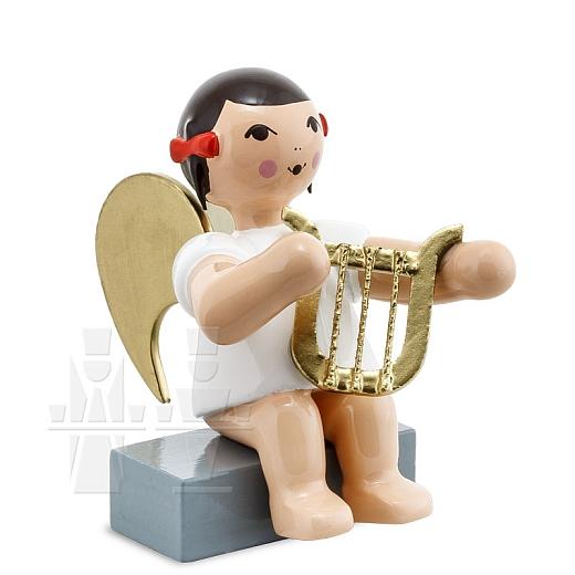 Schleifenengel sitzend mit Harfe