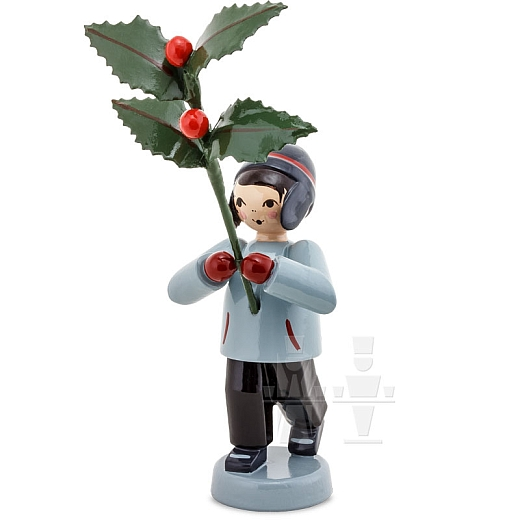 Winterblumenjunge rot mit Ilex