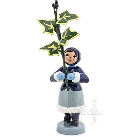 Winterblumenmädchen blau mit Efeu