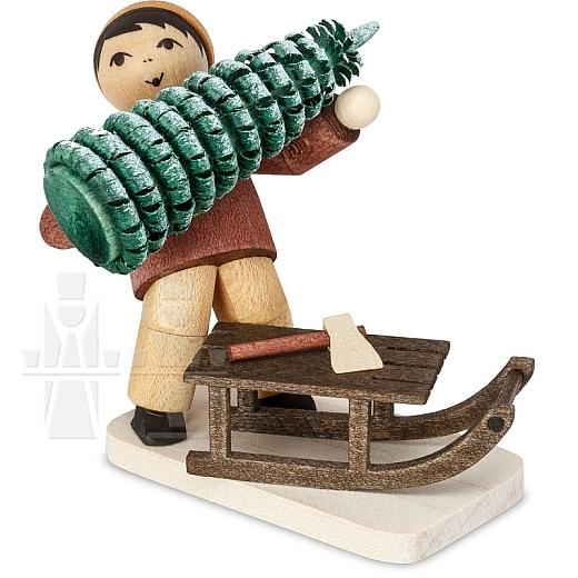 Baummauser Junge mit Schlitten gebeizt von Ulmik