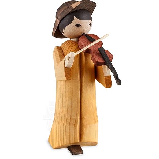 Musikant mit Geige 13 cm gebeizt