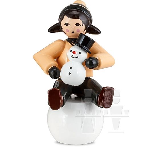 Schneemannbauerin auf Schneekugel braun von Ulmik