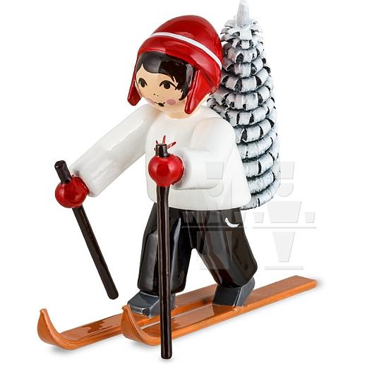 Baummauser Junge auf Ski rot von Ulmik