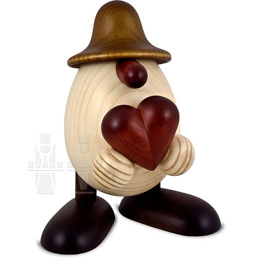 Eierkopf Hanno mit Herz braun lasiert