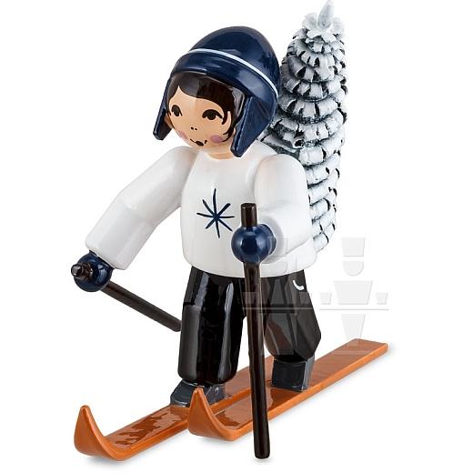 Baummauser Junge auf Ski blau von Ulmik