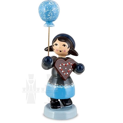 Pfefferkuchenmädchen mit Ballon blau von Ulmik